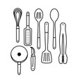 outline cooking utensils vector image vector image