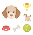 pet dog cartoon icons in set collection for design vector image vector image