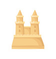 sandcastle with two towers big sand fortress vector image vector image