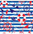 Seamless nautical pattern on striped background vector image vector image