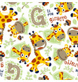 seamless pattern with funny giraffes cartoon vector image