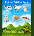 set of animal sticker pack vector image vector image