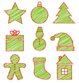 Set of Christmas icons on white vector image vector image
