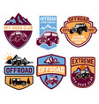 set of four off-road suv car emblems extreme vector image