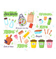 set zero waste elements zero waste doodles no vector image