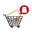 shopping cart with television vector image