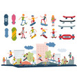 skateboarder active people park sport extreme vector image vector image