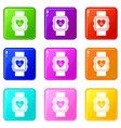 smartwatch icons 9 set vector image vector image