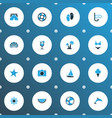 summer icons colored set with bikini sorbet ship vector image