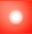 sun icon isolated on red background vector image