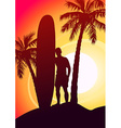 Surfing guy with surfboard and palm trees vector image vector image