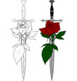 sword and rose vector image