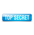 top secret blue square 3d realistic isolated web vector image vector image