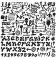 web doodles alphabet vector image vector image