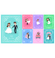wedding planning and ceremony bride and groom vector image