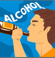 young man with addiction to alcoholic drink vector image vector image