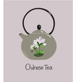 chinese ceramic teapot with lotus flower vector image