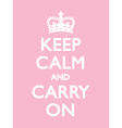 KEEP CALM CARRY ON PINK vector image