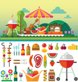 Summer picnic in meadow vector image