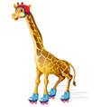 a giraffe ice skating vector image vector image