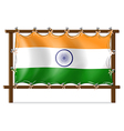 A wooden frame with the flag of India vector image