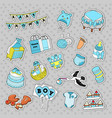 bashower boy stickers badges patches vector image vector image