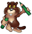 Beaver Holding Pencil vector image vector image