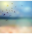 birds silhouette on sunny sky and beach vector image