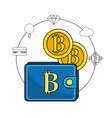 bitcoin symbon in the wallet and icons around vector image vector image