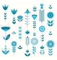 blue flower set pattern vector image vector image