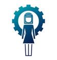 businesswoman work solution success gear vector image vector image