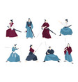 collection of samurai standing in different vector image