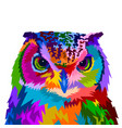colorful owl with style pop art vector image vector image
