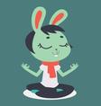 Cute Bunny Girl Meditating vector image vector image