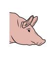 cute pig head cartoon animal farm image vector image