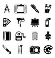 design and drawing tools icons set simple style vector image vector image