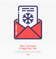 envelope with snowflake inside vector image