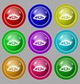 eyelashes icon sign symbol on nine round colourful vector image vector image
