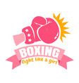 girl boxing with pink glove and ribbon vector image vector image