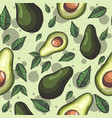 green seamless pattern with avocado fruits vector image