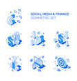 isometric social media and finance compositions vector image