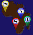 map of africa with animals map points vector image