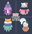 merry christmas celebration cute animals vector image vector image