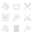 Military armor icons set outline style vector image vector image