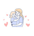 motherhood mother and daughter mom hugging kid vector image