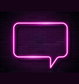 neon pink glowing speech bubble sign vector image