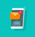 new email notification on mobile phone vector image vector image