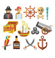 pirates treasure and ship navy equipment marine vector image
