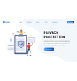 privacy protection landing web page vector image vector image