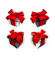 Realistic gift box with red bow isolated on gray